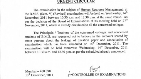 Students of TYBMS 2011 are requested not to believe in rumors