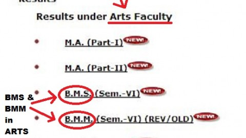For Mumbai University, BMS is an Arts Course!