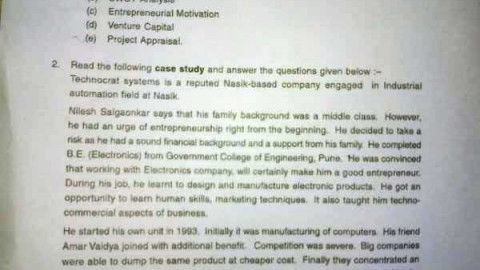 Entrepreneurship April 2013 University Paper Solution