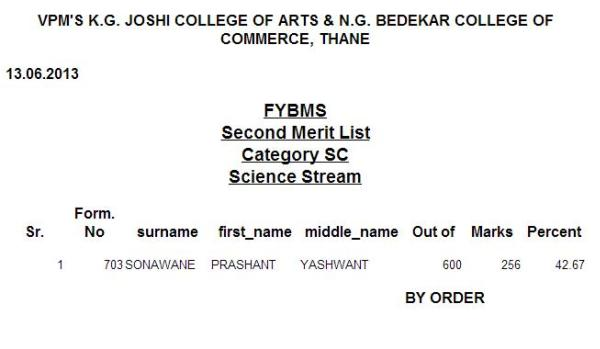 Second merit list of K.G. Joshi & N.G. Bedekar College FYBMS (SC Science) 2013