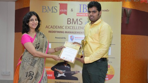 Felicitation of Akash Ajay Thakur, TYBMS Topper, Pillai College