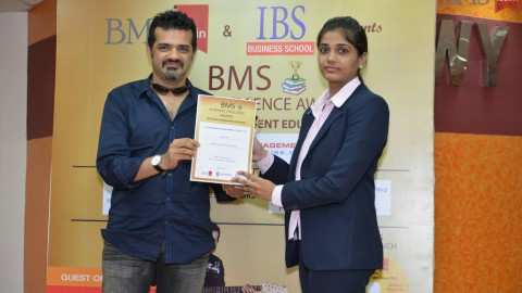 Felicitation of Asmita Patel, TYBMS Topper, Shailendra Degree College