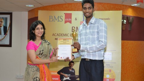 Felicitation of Gilson Martins, TYBMS Topper, St. Rocks College