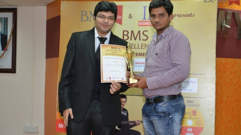 Felicitation of Krishna Pandey, TYBMS Topper, Patuck Gala College