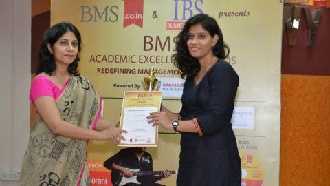 Felicitation of Monika Dilip Badgujar, TYBMS Topper, J.K. College of Science and Commerce