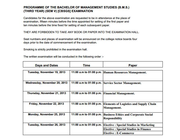 Timetable of TYBMS Sem 5 Exams 2013 (Credit Based Grading System)