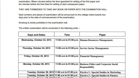 Timetable of TYBMS Sem 5 ATKT Exams 2013
