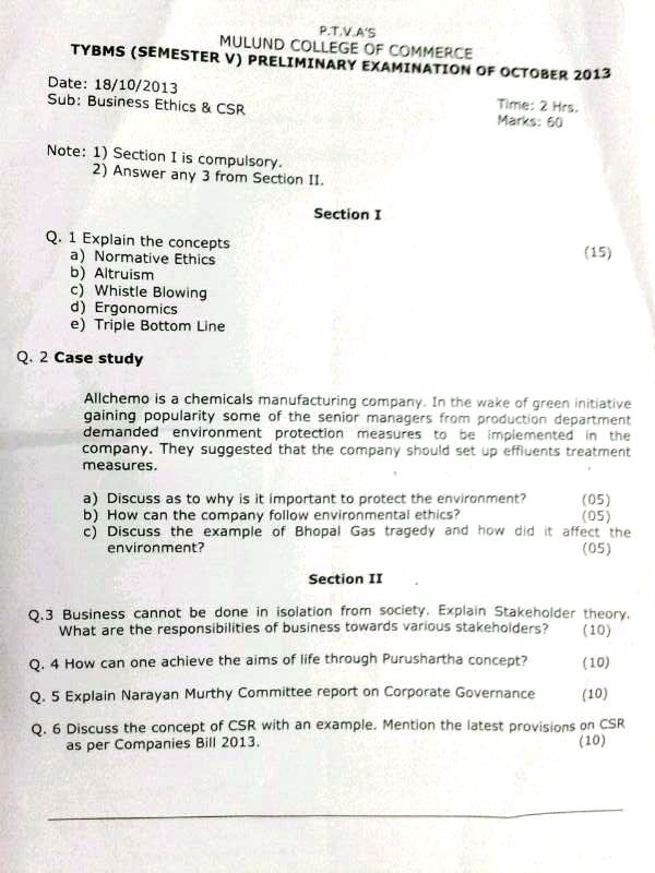 MCC College TYBMS Prelims Question Papers 2013
