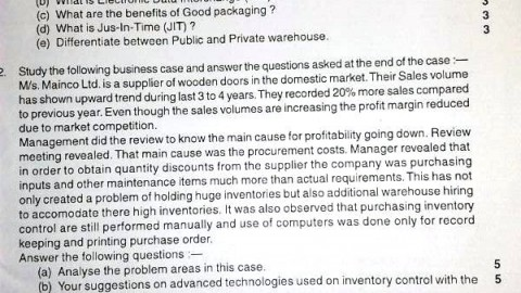 Logistics Important Question Paper 2013
