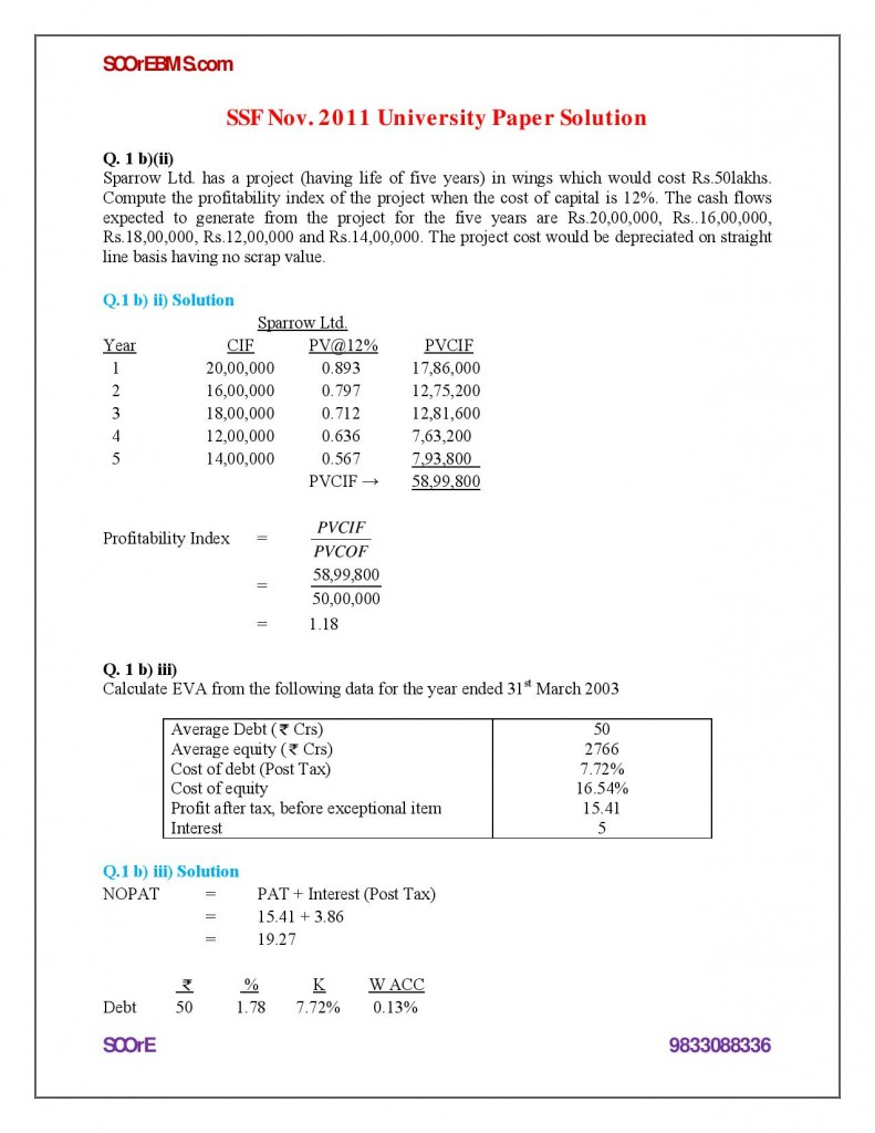 Special Studies in Finance Solved Paper - November 2011