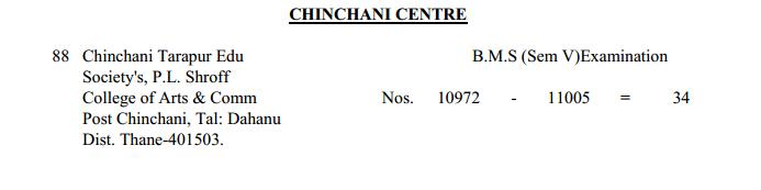 TYBMS Sem 5 Exams 2013 – Chinchani Centre for Seat Nos. 10972 to 11005