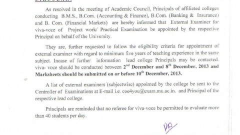 Circular of External Examiner appointment for Project viva-voce 2013