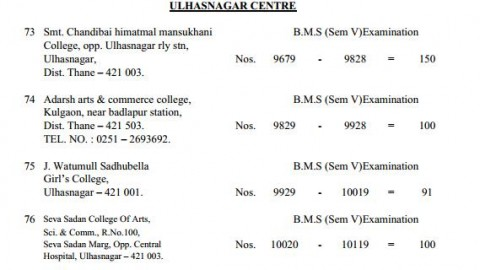 TYBMS Sem 5 Exams 2013 – Ulhasnagar Centre for Seat Nos. 9679 to 10119