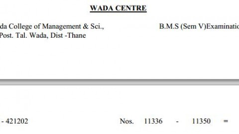 TYBMS Sem 5 Exams 2013 – Wada Centre for Seat Nos. 11336 to 11350