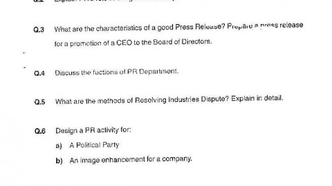 Public Relations Management Model Question Paper 2