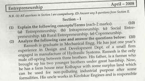 Entrepreneurship Management Mumbai University April 2008 Question Paper