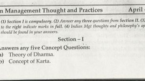 Indian Management Thoughts & Practices Mumbai University April 2008 Question Paper