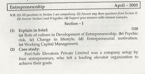 Entrepreneurship Management Mumbai University April 2005 Question Paper