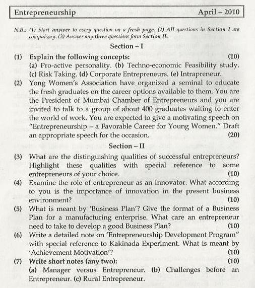 Entrepreneurship Management Mumbai University April 2010 Question Paper
