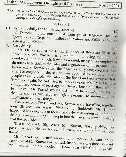 Indian Management Thoughts & Practices Mumbai University April 2004 Question Paper