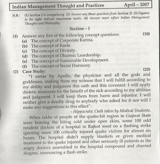 Indian Management Thoughts & Practices Mumbai University April 2007 Question Paper