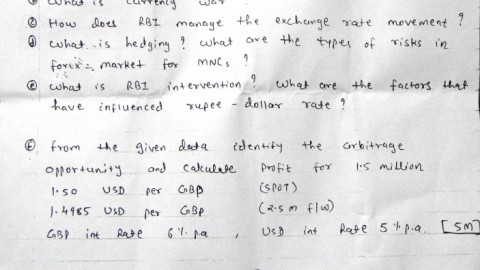 St. Rocks College International Finance Prelims Question Paper 2014