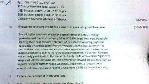 N.M. College International Finance Prelims Question Paper 2014