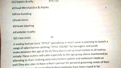 M.M.K. College Retail Management Prelims Question Paper 2014
