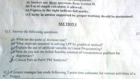 S.M. Shetty College Operations Research Prelims Question Paper 2014