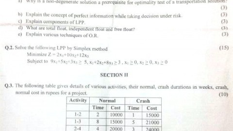 M.C.C. College Operations Research Prelims Question Paper 2014