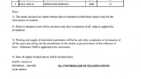 TYBMS Sem 6 ATKT Exam 2013 Revaluation Results 4th List Declared On 4 May 2014