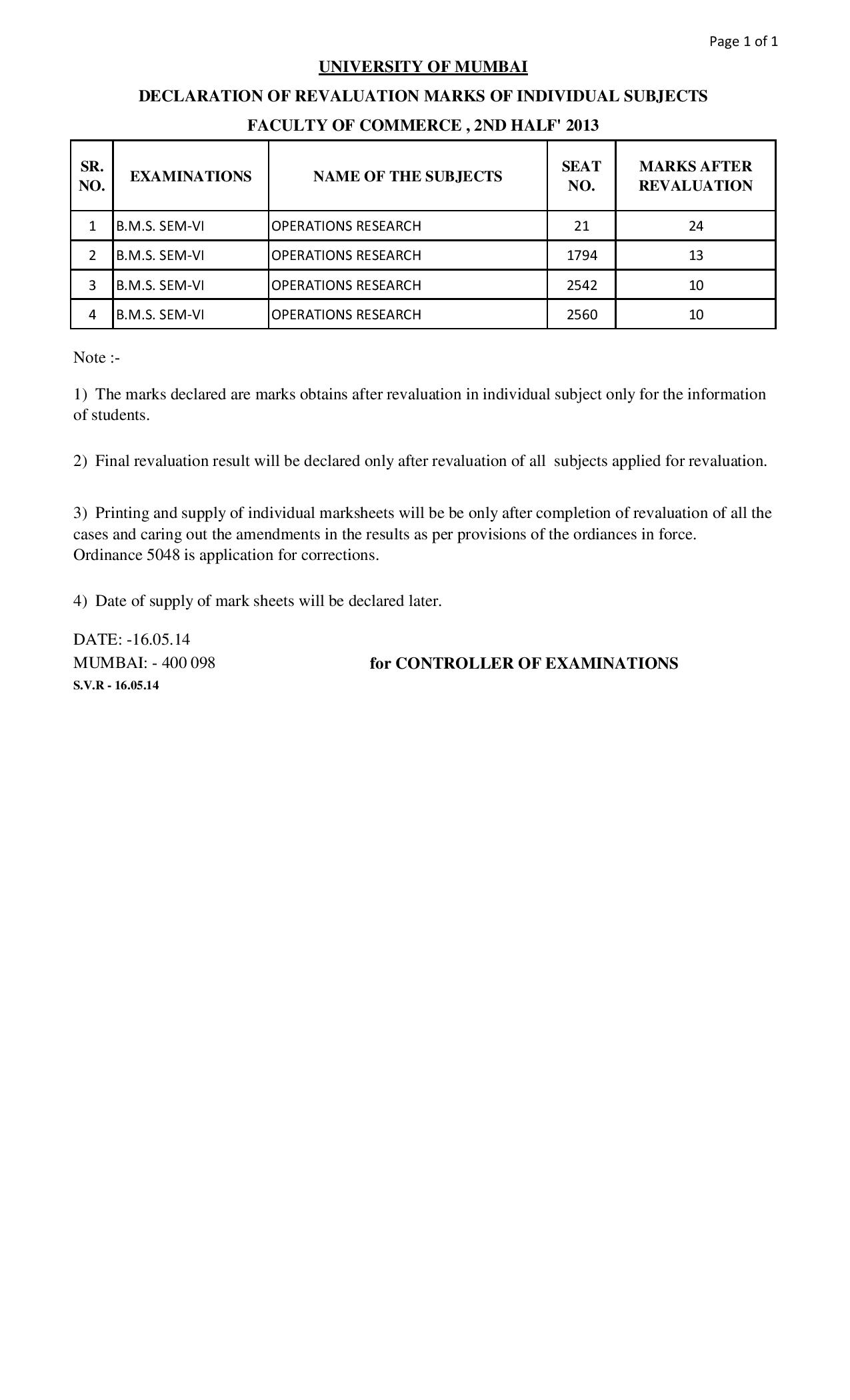 TYBMS Sem 6 ATKT Exam 2013 Revaluation Results 5th List Declared On 16 May 2014