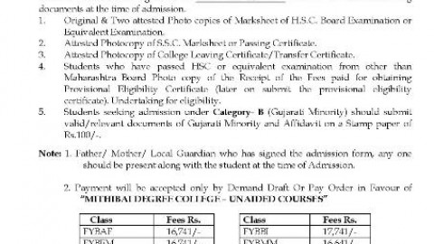FYBMS First Merit List Of Mithibai College 2014