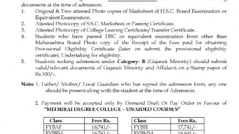 FYBBI First Merit List Of Mithibai College 2014