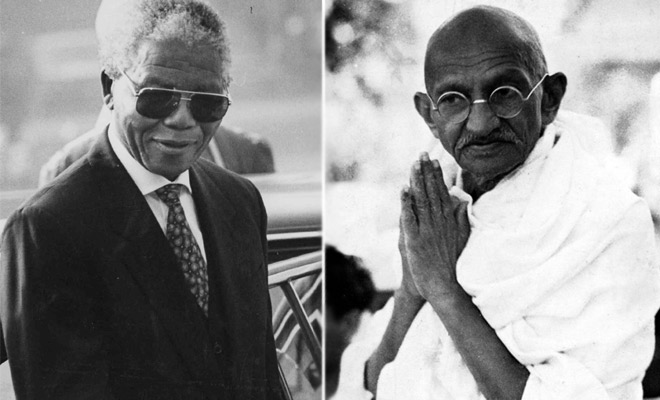 a comparison between two great leaders mohandas gandhi and nelson mandela