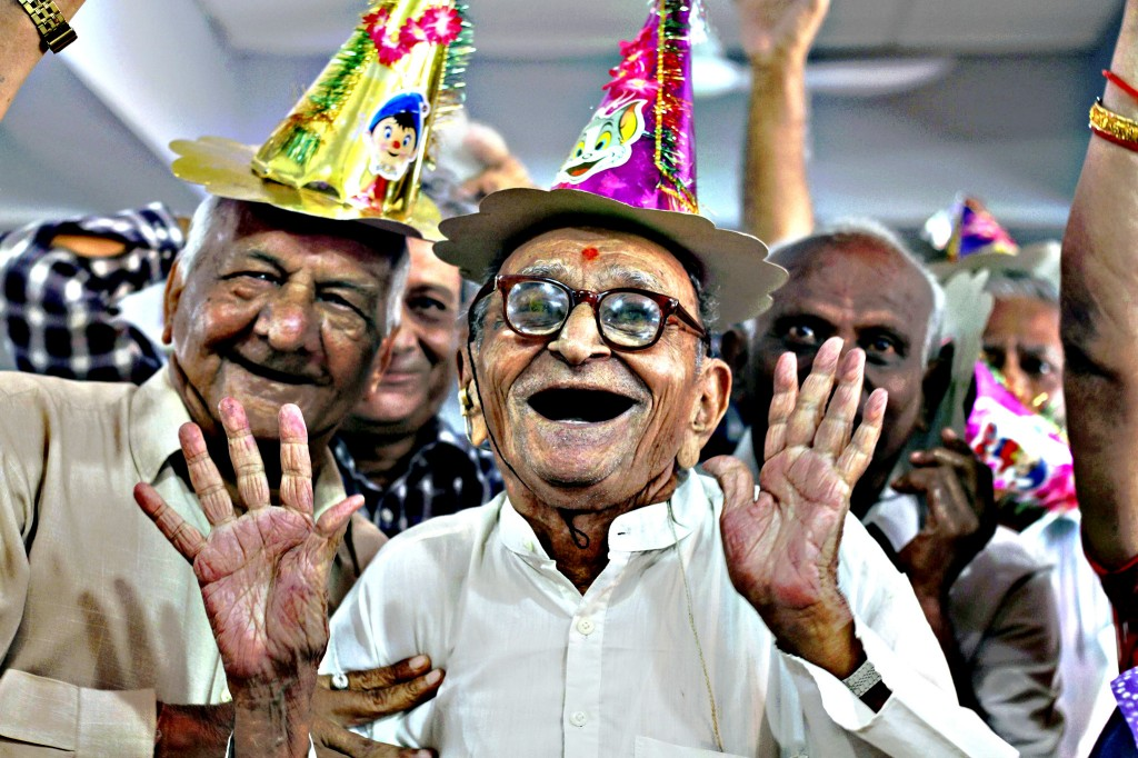 Elderly Indians participate in celebrations to mark Internationa