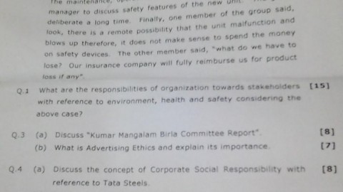 Business Ethics Prelims Question Paper 2014 – Shankar Narayan College