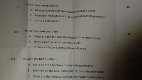 Business Ethics Prelims Question Paper 2014 – S.I.W.S College