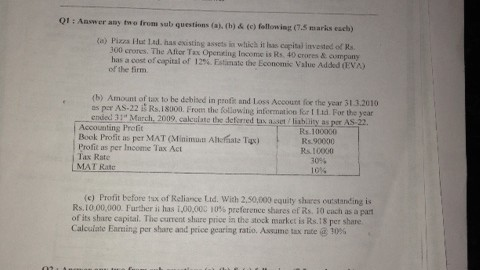 Pillai's College Special Studies in Finance Prelims Question Paper 2014