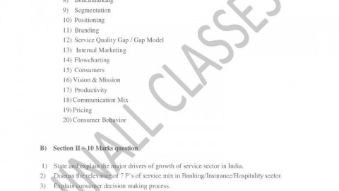 Service Sector Management Question bank 2014 – Jinall Classes