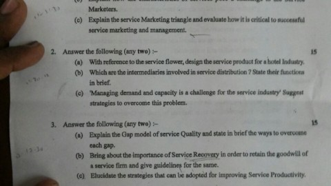 Service Sector Management Solved Answer Paper 5th November 2014 Exam