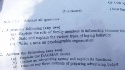 Special Studies in Marketing Solved Answer Paper – 12th November 2014