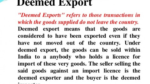What Is The Meaning of Deemed Export?