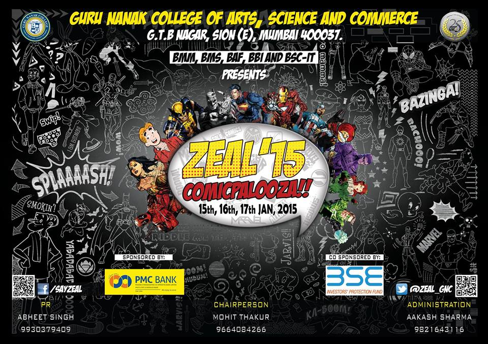 Zeal 2015 Comicpalooza On 15th, 16th, 17th January 2015