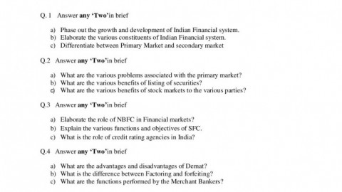 Financial Market Operations Prelims Question Paper 1 – S.K. Somaiya College