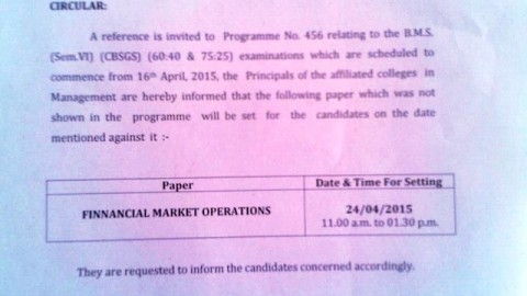 Financial Market Operations TYBMS Sem 6 Exam Date Circular 2015