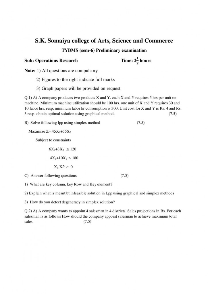 Operations Research Prelims Question Paper 2 - S.K. Somaiya College