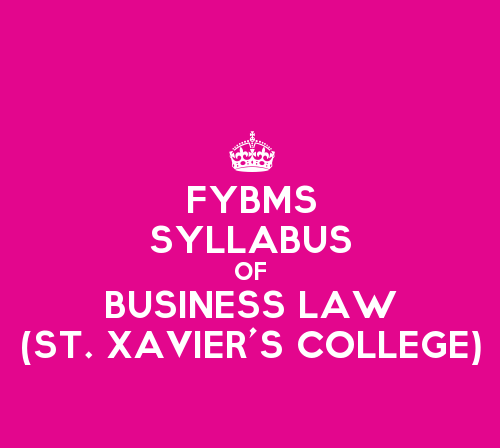 St. Xavier's College FYBMS Sem 1 Syllabus: Business Law
