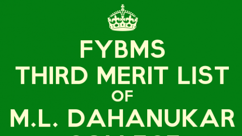 FYBMS Cutoff 2015 Third Merit List of M.L. Dahanukar College