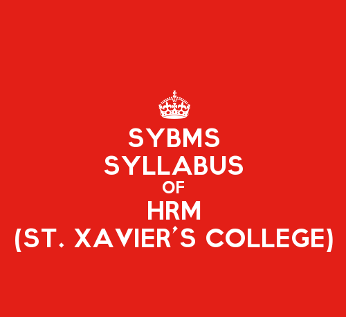 St. Xavier's College SYBMS Sem 3 Syllabus: Human Resource Management